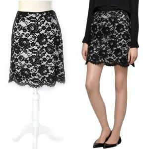 THEORY Nicholina Black Lace White Silk Skirt